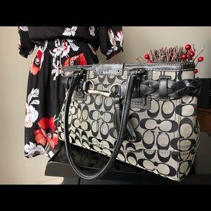 Coach Authentic Black and Grey Handbag